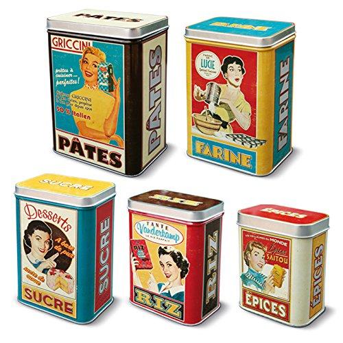 Natives 211156Housewives Boxen-Set mit 5Metalldosen, Mehrfarbig, 9,9x 5x 7cm