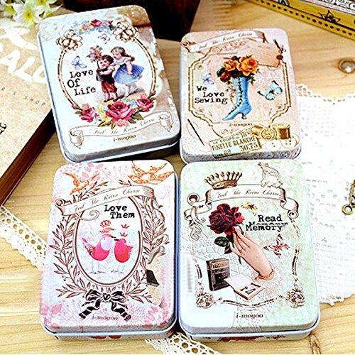 Bazaar Retro niedlich Behälter Rechteck Blechdose Tee Süßigkeiten Schmuck Gadget Box Shop