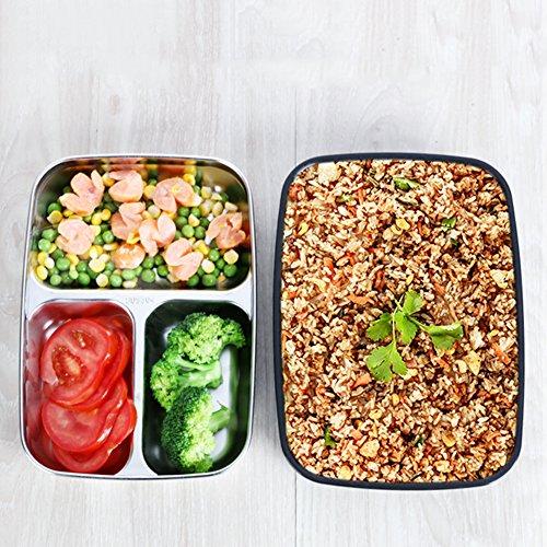 Futurepast Brotdose Kinder Brotdose Edelstahl Dauerhaft Frischhaltebox Bento Box mit 3 Unterteilungen Mittagessen Container Food Aufbewahrungsbehälter Für Kinder Erwachsene (Schwarz)